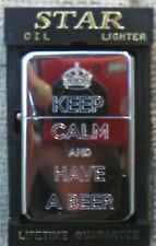 KEEP CALM AND HAVE A BEER CHROME PETROL CIGARETTE LIGHTERS *BACK ENGRAVED FREE*