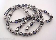 50 4mm Czech Glass Firepolish Beads: Silver/Blue/Crystal