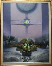 MARTINEZ ROJAS-Hispanic Modernist-Signed Acrylic Painting- Abstract- 3 de Mayo