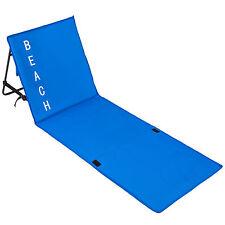Matelas de plage rembourré dossier réglable tapis chaise camping portable bleu