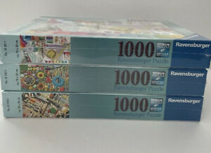 Ravensburger Needlework Hardware In the Garden 1000 Piece 3 Puzzle Lot RARE NEW