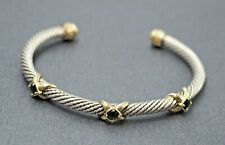 Womens Sterling Silver 9ct 14k Gold & 18ct Emerald Cuff Twisted Wire Bracelet