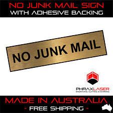 NO JUNK MAIL - GOLD SIGN - LABEL - PLAQUE with Adhesive 80mm x 20mm LETTERBOX