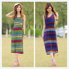 Stretch Long Sleeve Striped Dresses for Women