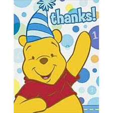 WINNIE THE POOH 1st BIRTHDAY BOY THANK YOU NOTES (8) ~ First Party Supplies Card