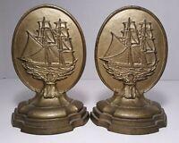 Antique Bradley Hubbard Nautical Bookends, Sailing ship, 1920's