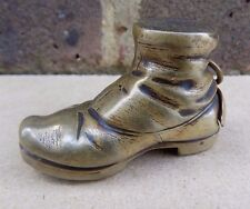 Antique Brass Hobnail Boot Match Safe Vesta Case