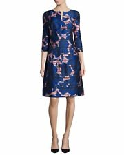 Oscar De La Renta Blue Floral Brocade Dress US 6 UK 10