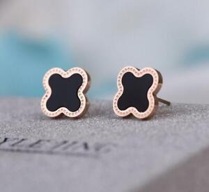 Rose Gold Black Flower Lucky Clover Titanium S.Steel Stud Earring