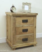 Baku Light Natural Solid Mango 3 Drawer Bedside Table by Mercers Furniture