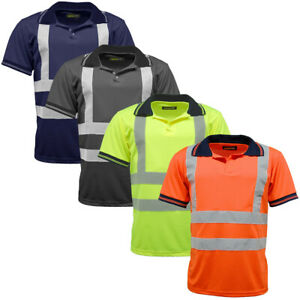 Standsafe HV004 Hi Vis Polo Short Sleeve Reflective Plain Shirt T-Shirt Work Top