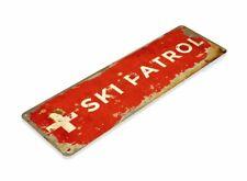 VINTAGE SKI PATROL Lift Resort Lodge Cabin Rustic Skiing Tin Metal Sign 11 x 4