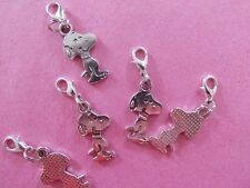 SNOOPY DOG PEANUTS silver tone charm clip on charm for bracelets