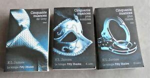 Lot de 3 livres trilogie 50 nuances de Grey, 50 Nuances plus sombre, plus clair