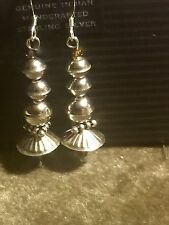 """Native Southwest Sterling Silver Seam & Dome Bead 2.5"""" Earrings"""