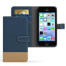 Tasche f. Apple iPhone SE / 5 / 5S Jeans Cover Handy Schutz Hülle Case Blau