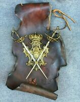 Antique french decorative coat of arms early 1900's ? bronze on leather swords