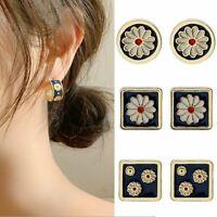 Luxury Daisy Flower Geometric Enamel Earrings Stud Gold Drop Glossy Party Women