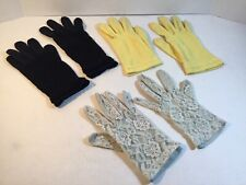 Lot of 3 Vintage Gloves Yellow, Black And Light Blue See Through Lace. Old