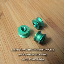 Zero Tolerance ZT0550 ZT 550 Knife MATT GREEN Anodized Custom Titanium Standoffs