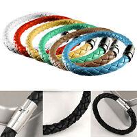 Hot Unisex Women Men Braided Leather Steel Magnetic Clasp Bracelet Handmade Gift