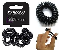 6 x Black Spiral Plastic Hair Bands Girl Ponytail Stretchy Elastic Coil Bobble
