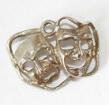 Vintage Theater Masks Sterling Silver Bracelet Charm Pendant / Detailed