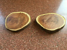 2 x Yew Wood Log Slices for Dried Flower Crafts / Stands / Bases / Mats