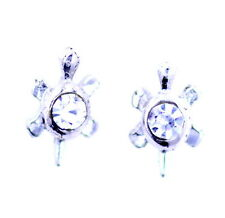 Silver tone turtle tortoise stud earrings with clear crystal