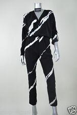 Kenneth Cole New Black Satin Long Sleeves V-Neck Jumpsuit Pants MSRP$178 Size 0