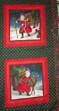 "Santa Claus Pillow Panels Reindeer Christmas Bag of Toys 13"" Cotton Gold Accents"