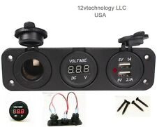Red Triple 3.1 Amp USB Charger + Red Voltmeter +12V Socket Panel Marine + Jumper