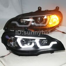 2007 to 2011 year LED Angel Eyes Lamps For BMW E70 X5 LED Headlights Black JY