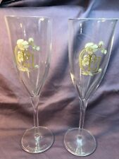 2 LOGO PJ PERRIER JOUET CRYSTAL CHAMPAGNE FLUTES HAND BLOWN / PAINTED GLASSES