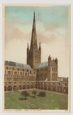 Norfolk postcard - Norwich Cathedral Spire and Cloisters