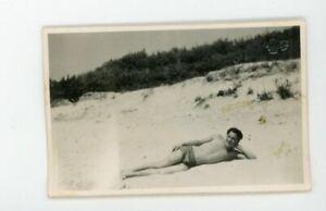 Handsome fit shirtless man sunbathing  bathing suits Vintage photo Gay interest