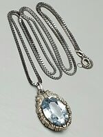 Art Deco Anhänger 800 Silber um 1930 blauer Spinell & lange Silberkette / A643