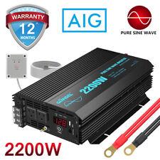 Pure Sine Wave Power Inverter 2200W 12V to 110V~120V+2.4A Usb 4.5m Remote