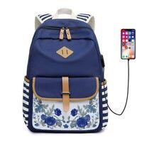 Canvas Women Backpacks USB Charge School Bag For Girls Travel Laptop Bagpack