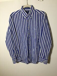 Gant Mens Blue And White Striped Button Shirt Size M Long Sleeve Cotton