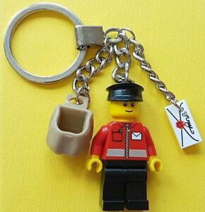 LEGO Postman Minifigure Keychain with Sack and Letter NEW