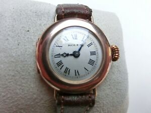 VINTAGE ROLEX W&D 9 Carat Rose Gold Trench Wristwatch 1926 Ruby Jewels Pretty!