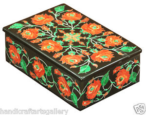 """6""""x4""""x2"""" Belgium Marble Black Jewelry Boxes Hakik Floral Inlay Collectible H2233"""