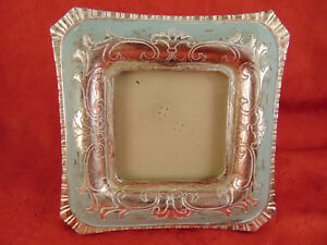 """Unique picture frame silver blue square 6 1/2"""" baby photo family shots holiday"""