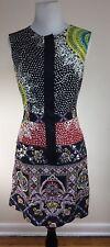 Nanette Lepore Patchwork Print Tunic Dress Sz 6 Front Zip Geometric Embellished