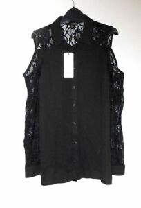 New LIPSY LONDON Asos Black LACE Sleeves COLD Shoulder Blouse Top Plus Size 16