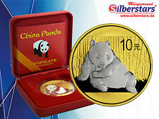 10 Yuan Silber China Panda 2015 gilded reverse in Box und CoA