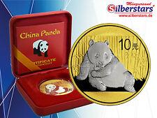 10 yuan argent Chine Panda 2015 Gilded REVERSE en boîtier et COA