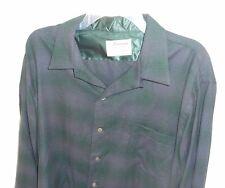 50s GAME & LAKE Purple Green SHADOW PLAID! Loop Collar Long Sleeve ROCKABILLY XL