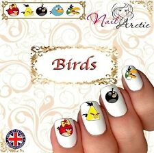 40 x Nail Art Water Transfers Stickers Wraps Decals Birds Toon Angry
